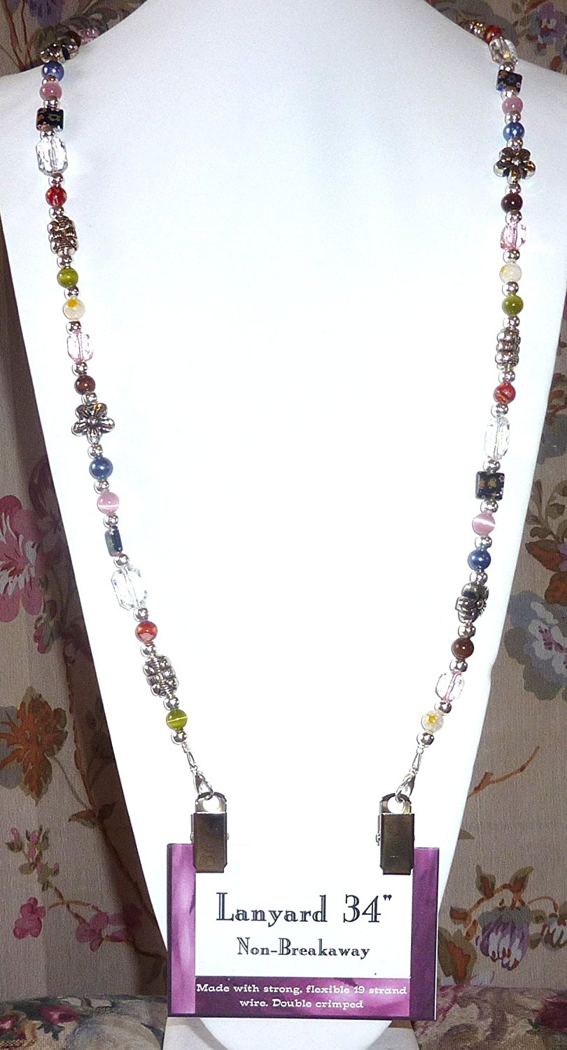 Lanyard with id card badge holder, wholesale beaded lanyards