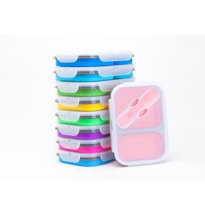 Reusable Eco-friendly 3D Picnic Sectional Flat Microwave Safe Rectangular Square Partition Silicone Food Container Lunch Box