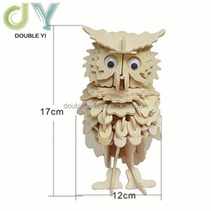 Cartoon animal 3D Wooden Puzzle DIY Toy , 3D owl Wooden Puzzle