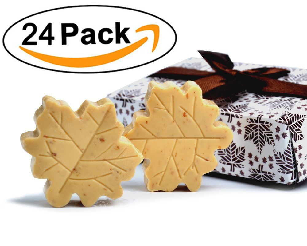 AiXiAng Handmade Scented Cute Soap Guests Keepsake Gift Wedding Favors Gift Baby Shower Favors Decorations, Parties, Thanksgiving Gifts (Fall in Love Maple Leaf Style,24 Pack)