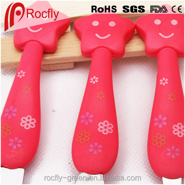 Lovely spoon and fork, plastic and stainless steel smiling star spoon fork kid, children knives