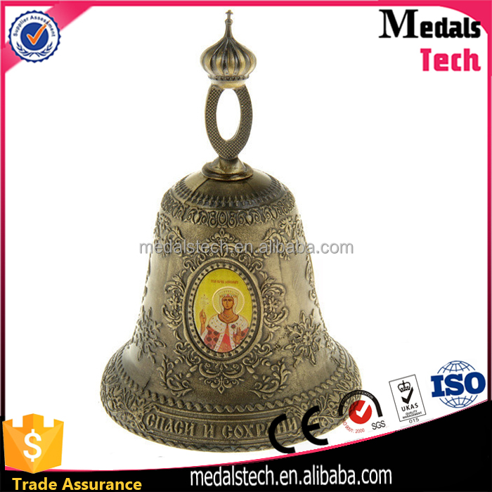 Cheap Decorative Antique Bronze Engraved Logo Metal Christmas Bell