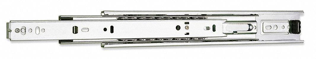 Side or Bracket Drawer Slide, Lever, Soft Close, Extension Type: Full, 2 PK
