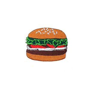 Burger logo embroidered iron patch on t-shirt sew cloth diy crafts thai patch