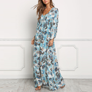 Deep v neck chiffon floral print bell long sleeve maxi dress women