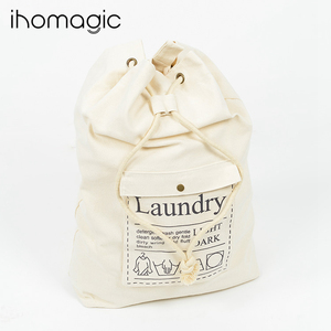 Fabric waterproof laundry bag Large capacity drawing string laundry bag cotton canvas shoulder laundry bag