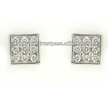 Rhodiam Clic Diamond Earrings S Hip Hop Jewelry Gold Plated