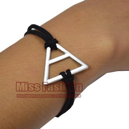 2014 новинка браслет ручной работы браун воск шнура-silver треугольной формы мужчина или женщина тридцать 30 секунд , чтобы марс браслет
