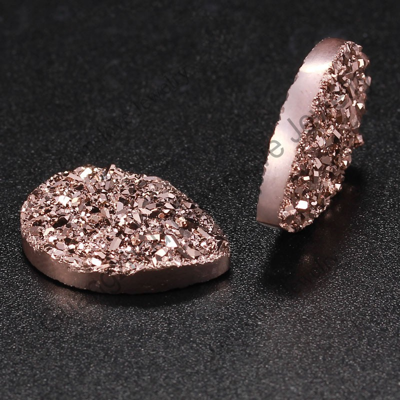 Cheap Wholesale Rose Gold Druzy Stones Pear Cabochon Flat Back Natural Agate Druzy Ring Stone