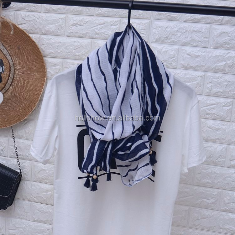 Fashion Straight Striped Tassel Scarf Muslim Woman
