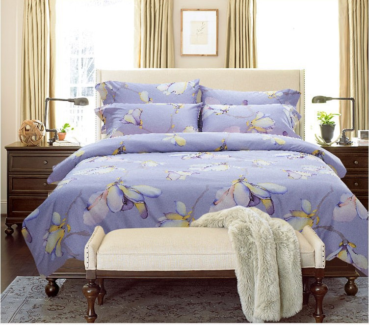 Luxury Blue Purple Lilac Floral Pink Bedding Set Egyptian