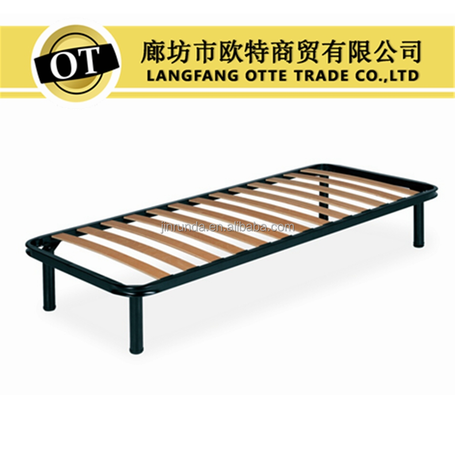 Metal bed base with wooden bed slats