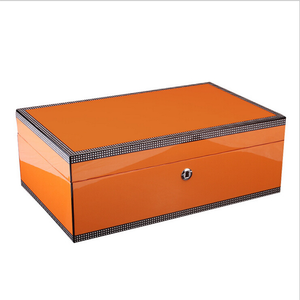 Lacquer Orange Wood Cigar Box with Lock