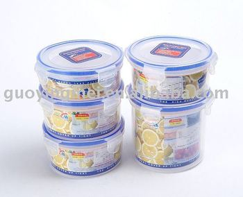 Lock Tightly Round Storage Containers Set Of 5Plastic Food Storage