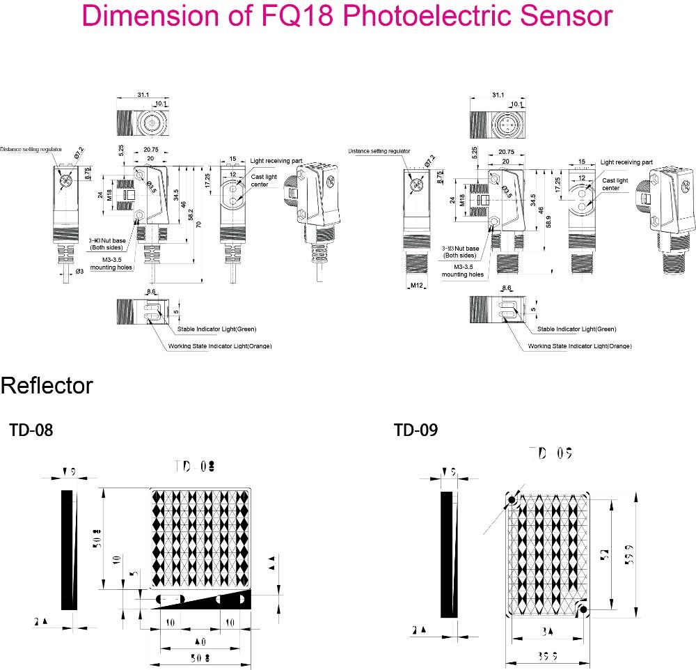 FQ18 IP65 Imperméable IFM Capteur Photoélectrique