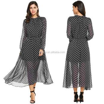 0a562d56a6 High Quality Chiffon Fabric One Piece Dress 100% Polyester Women Long  Sleeve Polka Dot Boho