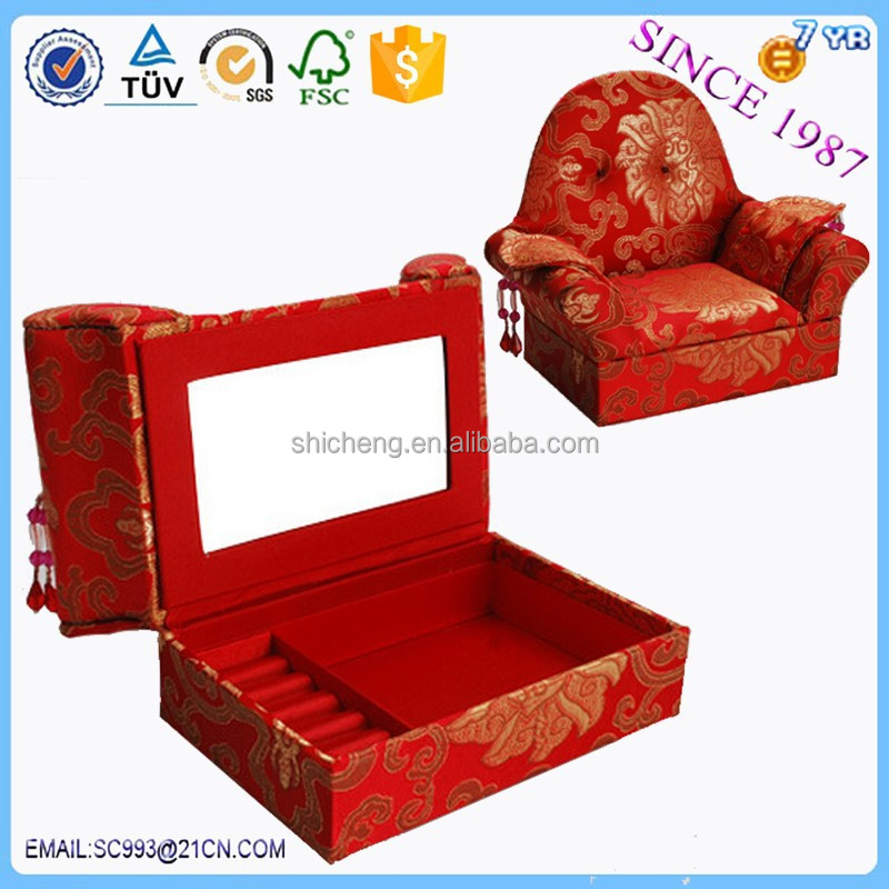 Red sofa chair accessories receive a case custom made jewelry boxes