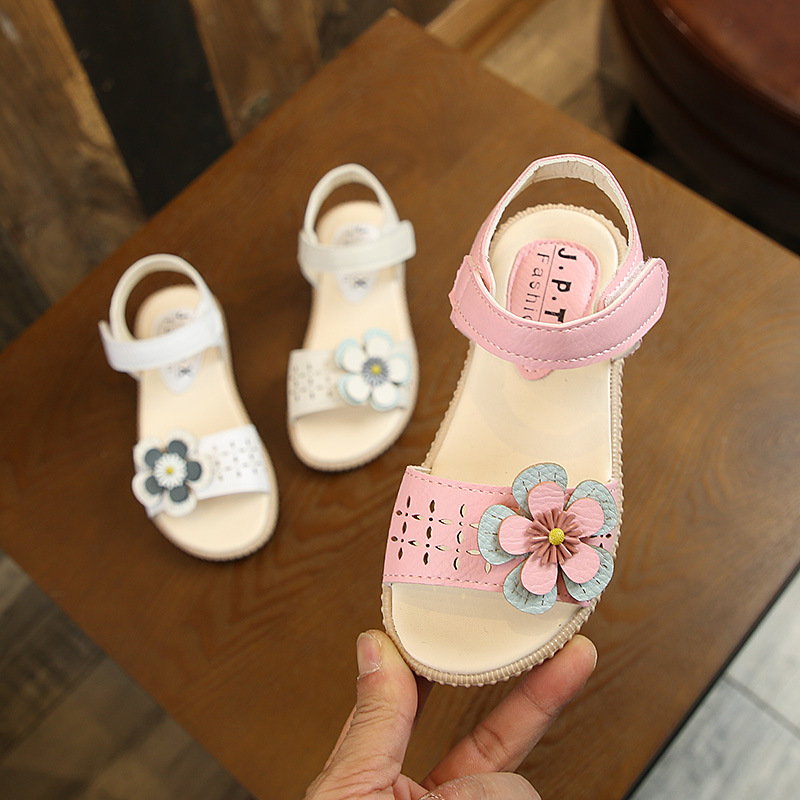 Beautiful big flower rubber kids shoes children girls