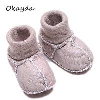 Wholesale real sheepskin fur soft sole baby leather shoes