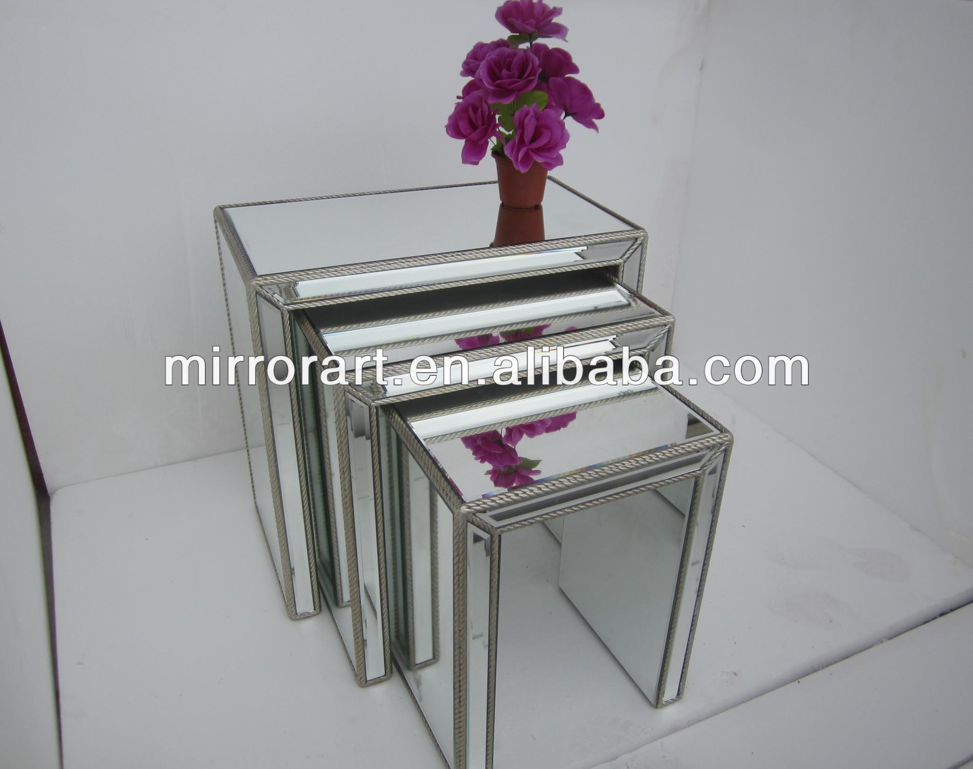 Mr 401307set vidrio espejo anidaci n tablas laterales con for Espejo con borde biselado