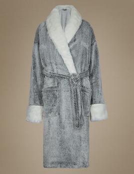 Womens Plush Marl Robe With Faux Fur Trim Buy Womens Plush Fleece