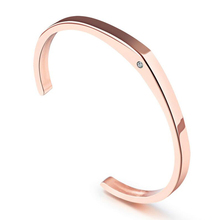 Vintage Lovers' Cuff Bangles Inlaid Simulated Diamond Rose Gold Plated Stainless Steel Valentine's Day Present