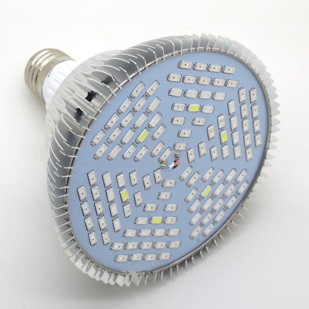 Full Spectrum Par38 Led Grow Light Bulb, E27 Base 45W, 120pcs 5730 SMD – 78 pcs Red, 24 Blue, 6 IR, 6 UV, 6 White Light, AC85~265V, for Plants Growing, Flowering, Fruiting, Garden Greenhouse Lighting