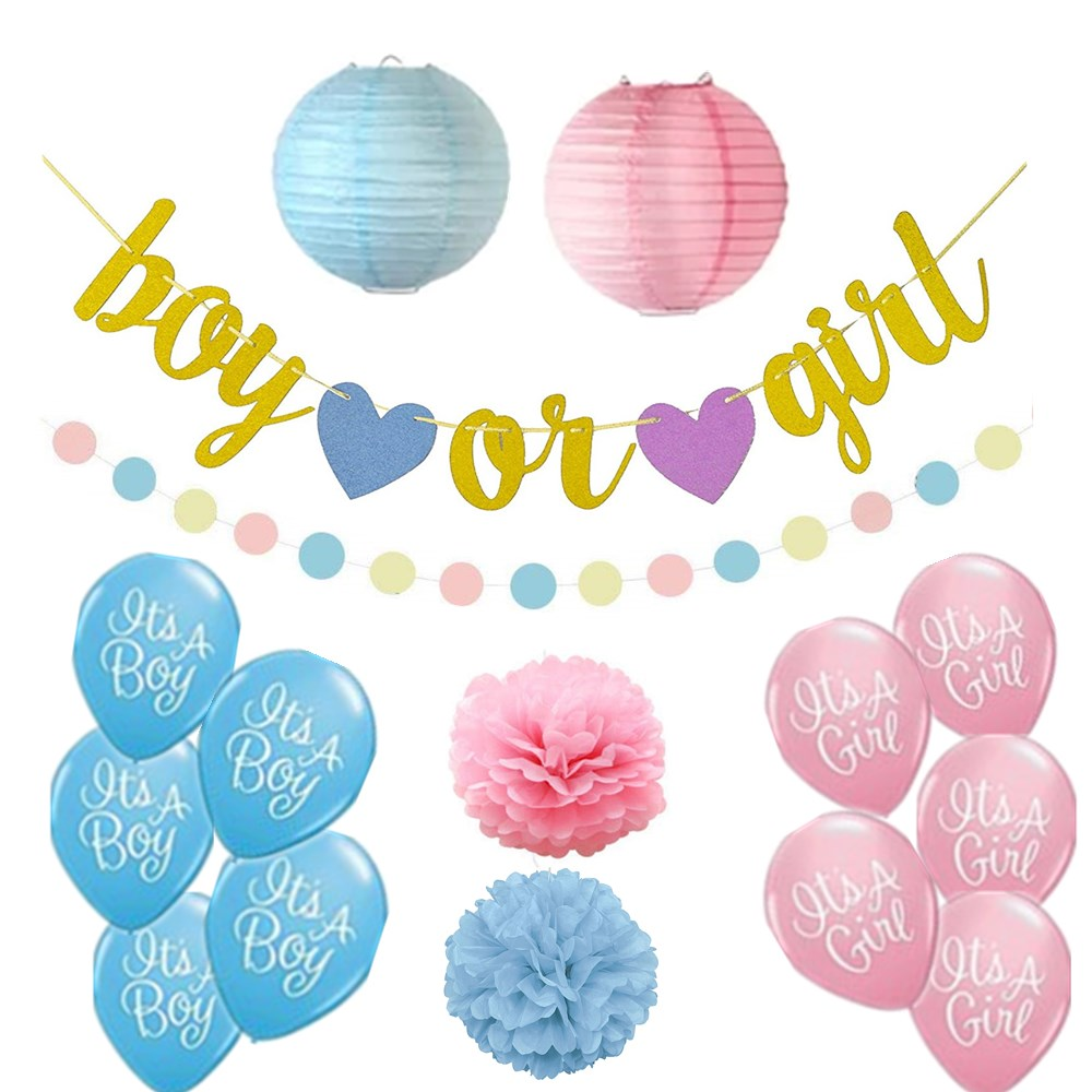 "Amazon Hot Sale Baby Shower Party Decoration 12 Inch Latex Balloon, ""Boy or Girl"" Banner, Paper Pom Poms"