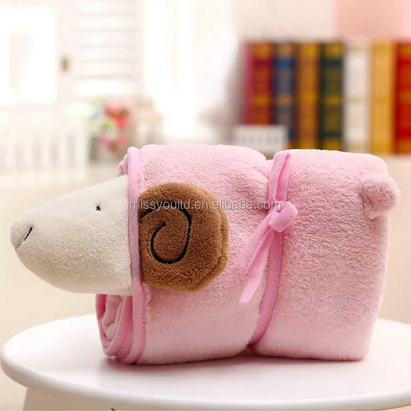 Cute stuffed elephant animal shape safty plush blanket for baby
