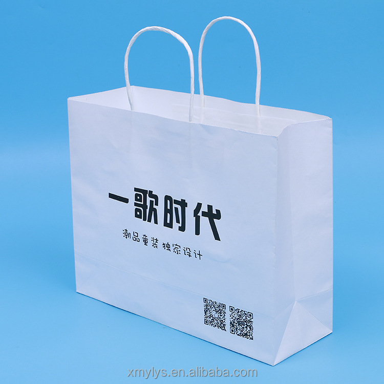 Printing Foldable White Kraft Paper Clothing Shopping Carrier Bag with Logo Manufacturer