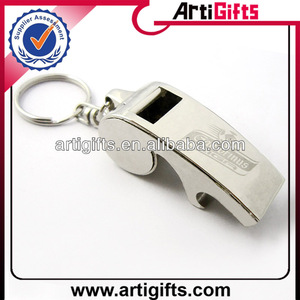 Promotional cheap metal key chain whistle