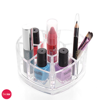Fashion Heart Shaped Clear Acrylic Makeup Organizer, Lipsticks Cosmetic Brushes Holder
