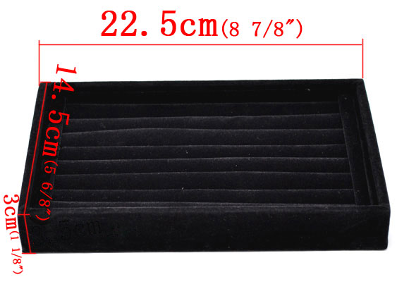 Black Velveteen Rings Jewelry Display Tray 22.5x14.5x3cm,1pc,Jewelry