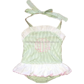 Wholesale Monogrammed Popular Fabric Summer Girls Baby Toddler One Piece Mint Green Swimsuit