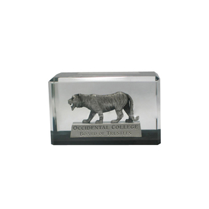 Customized acrylic block embed metal tiger as business gifts