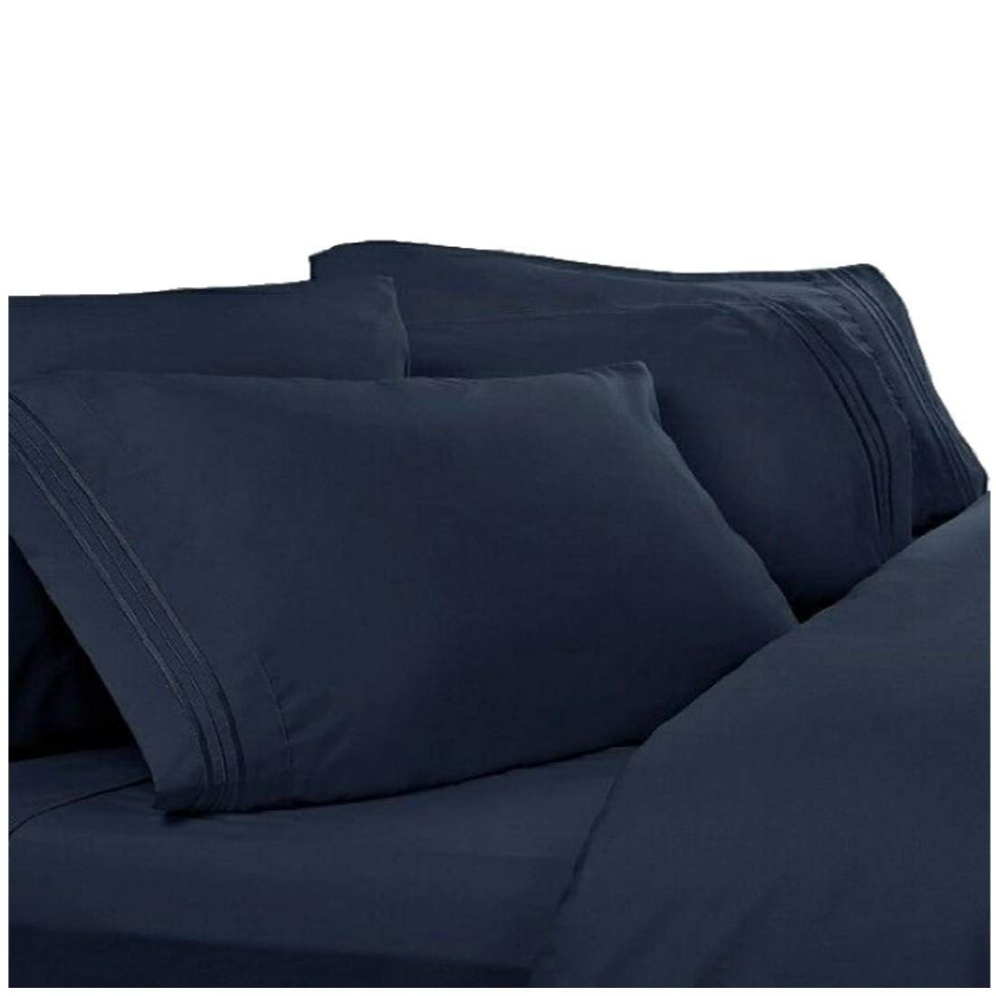 Get Quotations Split Cal King Sheets California Navy Blue 1800 Thread Count