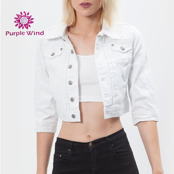 887dbaff16e03 Blanco casual slim de denim Chaqueta corta con diseño recortada para mujer