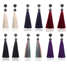Meajoe Bohemia Long Tassel Drop Earring 6 Color Charm Red Round Boho Vintage Dangle Earrings Jewelry For Women Accessory Gift