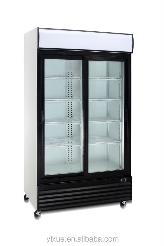 Factory Two Doors Display Fridge Commercial Retail Refrigerator ...