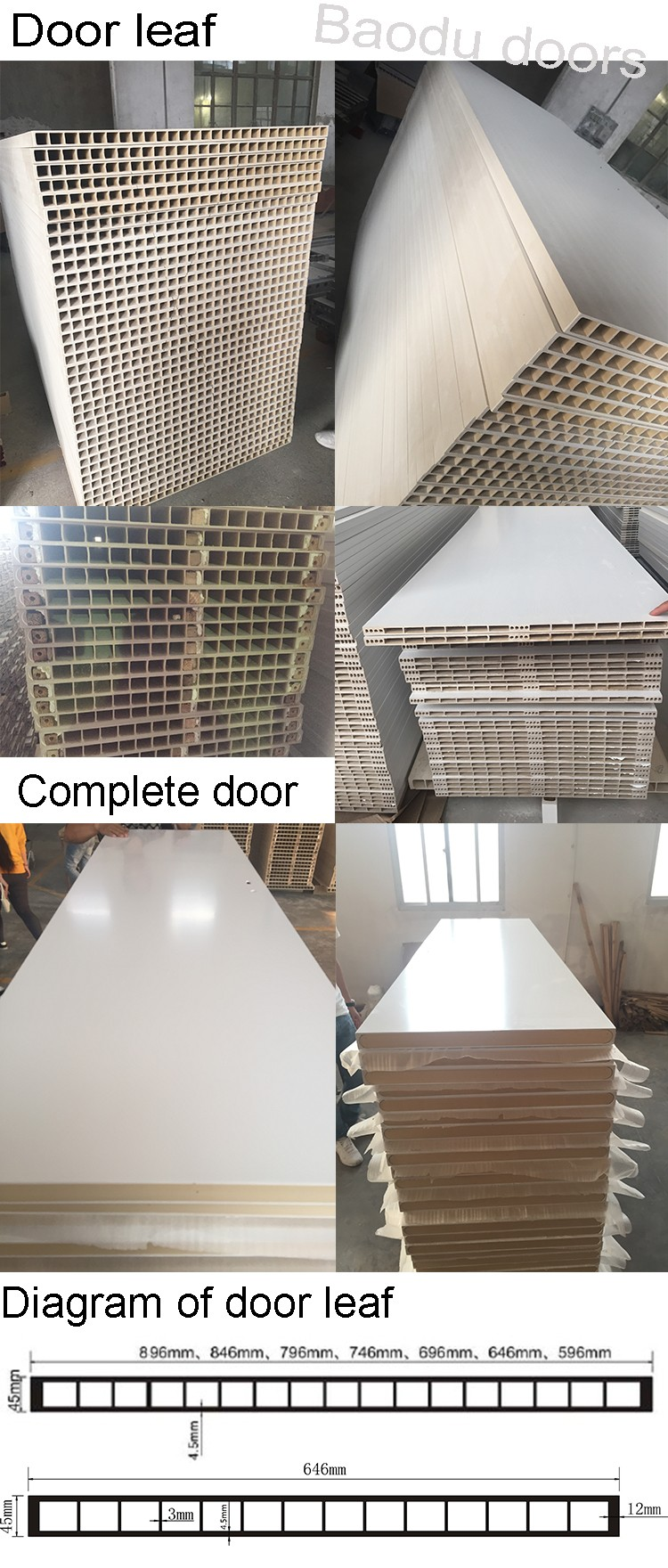 Alibaba hot sale wpc interior doors surface finished for for Interior door construction