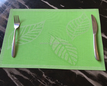 professional supply christmas three leafs plastic vinyl woven rattan pvc coated polyester mesh placemat