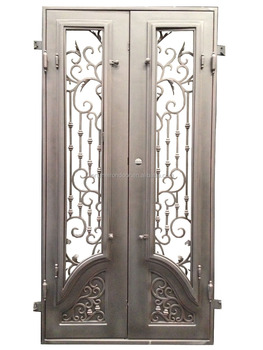 2018 Fashion Design In Wrought Iron Handmade Interior Door With Double Swing  For Home Decoration