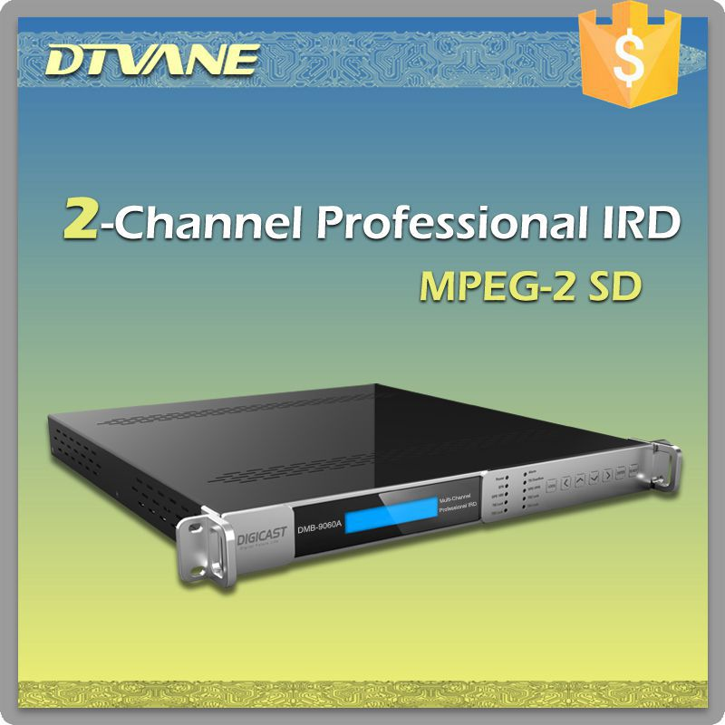 hot 2 channel HD professional IRD with MPEG2 decoding 2 CI slots dvb-c ird DVB S S2 T T2 C tuner HD IRD 2 channel