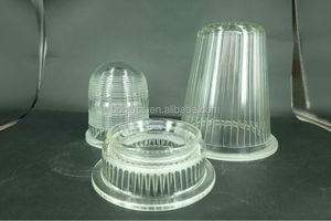 hot sale pressed borosilicate glass light covers with liner pattern