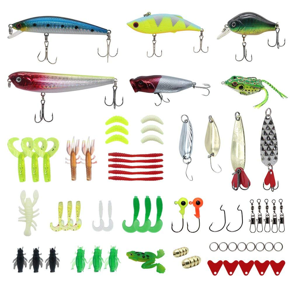 Fishing Accessories,VIB,Pencil Lure,Jig Heads,Spinnerbaits,Fishing Hooks,Soft Lures,Hard Lures,Copper Bullet Weights Sinker etc+1 Fishing Tackle Box