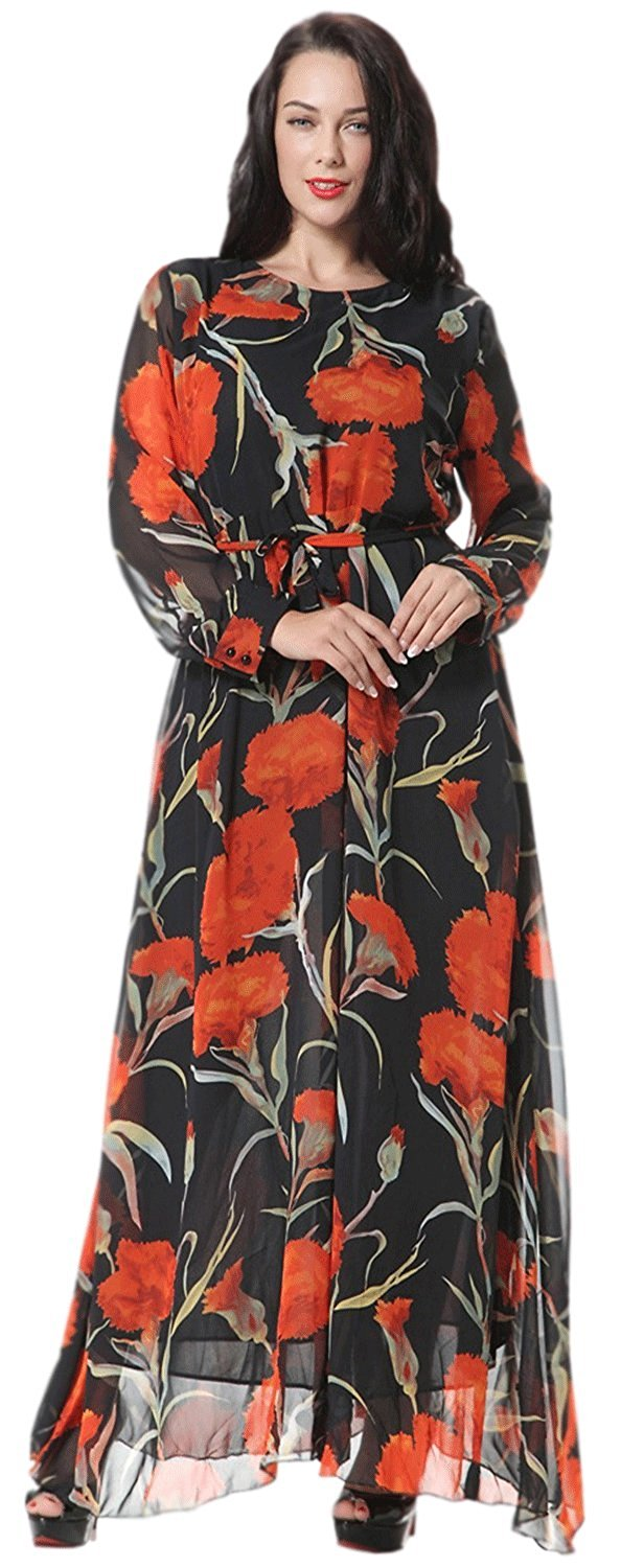 04e13a84ebb Get Quotations · Unomatch Women Long Sleeved Plus Size High End Gown Maxi  Party Dress Black