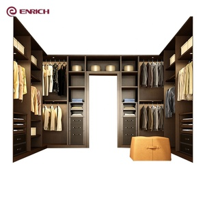 Modern modular bedroom furniture walk in closet wardrobe design with all wood cabinets