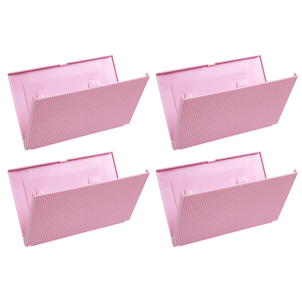 Trycooling 4 Pcs Plastic Foldable Wall Mounted Shoes Rack Creative Traceless Shoes Shelf Holder Multifunctional Hanging Shoes Organizer (Pink)