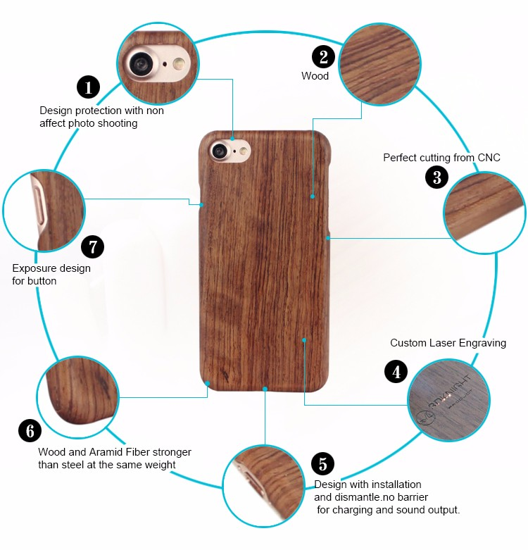 Wooden print phone hard wood case custom cell for iphone 6 7 phone case