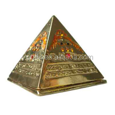 Hot sale golden plating pyramid shaped egyptain custom magnetic gift jewelry boxes